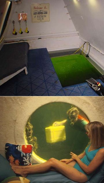 Jules Undersea Lodge - Key Largo, Florida  Underwater research habitat. Two modestly appointed rooms require guests to dive down 21 feet to the entrance, packing their belongings in airtight suitcases. Scuba certification required upon check-in, no smoking.