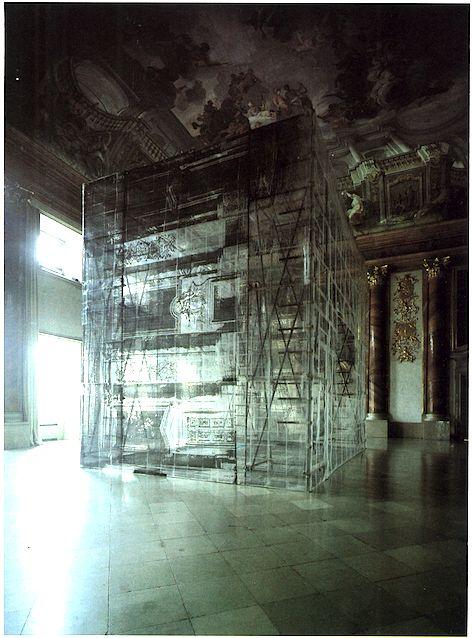 Thom Barth  Kubus 3-87 Kopie Marmorsaal, Museum für moderne Kunst, Palais Liechtenstein, Wien 1987