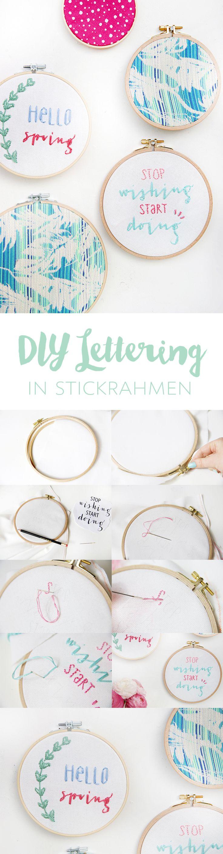 Kreative DIY-Idee zum Selbermachen: Stickrahmen besticken mit Lettering