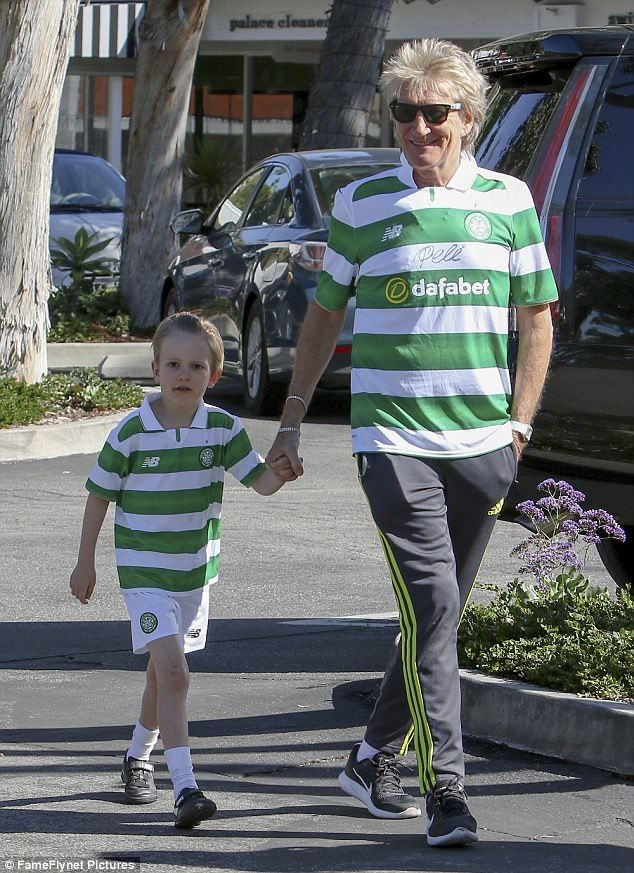 Footie fans! Rod Stewart, 72, got into the Scottish spirit once again as he headed out in Bel Air, California with Aiden, the youngest of his brood, on Wednesday in matching Celtic jerseys
