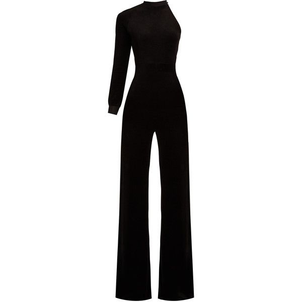 Vetements X Juicy Couture one-sleeve velour jumpsuit ($1,970) ❤ liked on Polyvore featuring jumpsuits, jumpsuit, dresses, black, jump suit, one sleeve jumpsuit, one shoulder jumpsuit, velour jumpsuit and sleeved jumpsuit
