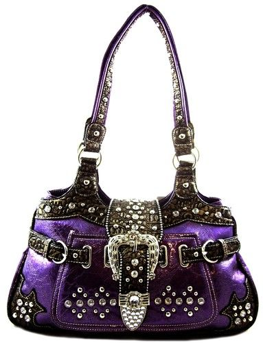 Western Cowgirl Rhinestone Belt Buckle Stud Pocket Patent Purse Handbag Purple