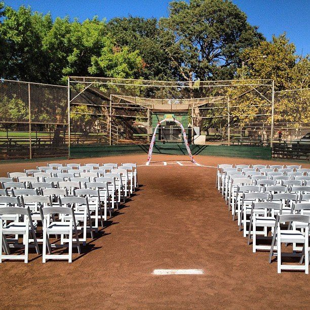 Baseball field wedding @b Weg i think it would be to dirty?