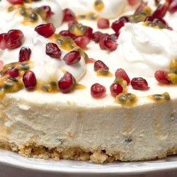 Granadilla Cheesecake with Yoghurt and Pomegranate Seeds