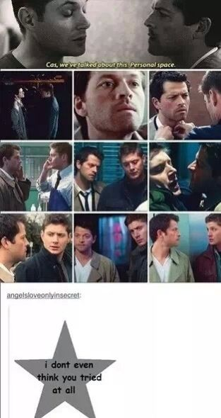 Dean, Cas, and personal space. I don't think you even tried!