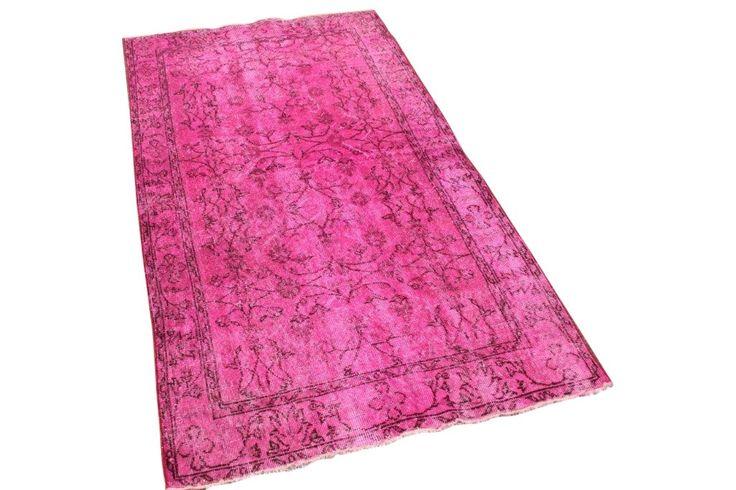 Roze vintage vloerkleed nr 1521, 205cm x 105cm   Rozenkelim.nl - Groot assortiment kelim tapijten