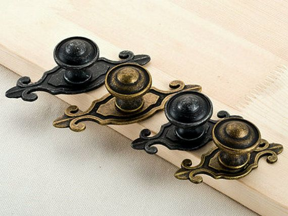Antique Black Bronze Dresser Knobs / Drawer Knob Pulls Handles Backplate / Kitchen Cabinet Knobs Handle Pull Knob Back Plate Rustic Plates