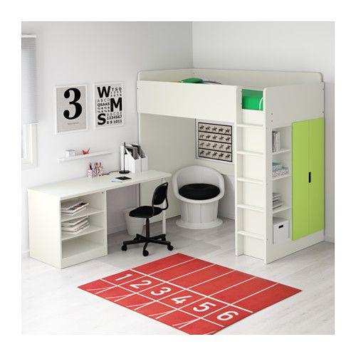 STUVA Loft bed with 2 shelves/2 doors - white/green - IKEA