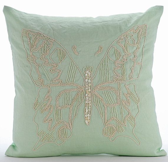 Minty Butterfly - 16x16 Inches Pearls Embroidered Green Linen Pillow. Great idea for rustic spring wedding decorations