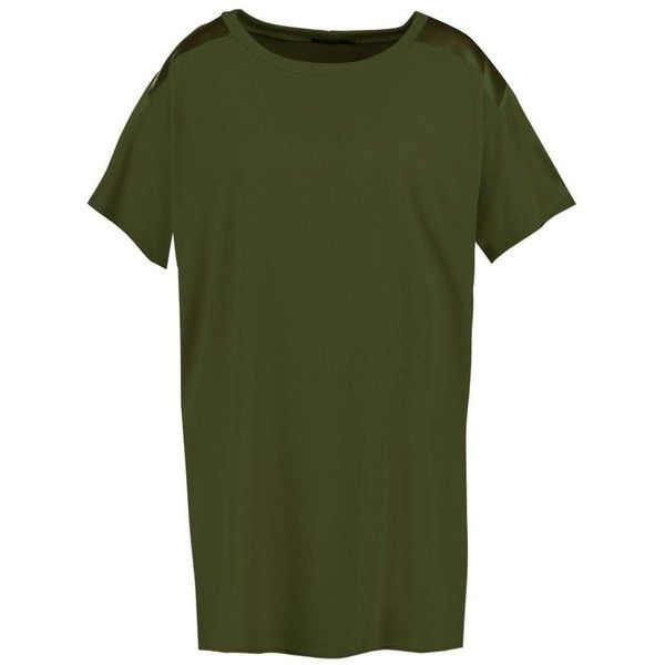 Boohoo Plus Kelly Satin Trim Ribbed T-shirt Dress | Boohoo (£14) ❤ liked on Polyvore featuring dresses, green t shirt dress, bodycon midi dress, bodycon maxi dress, jersey maxi dress and t shirt dress
