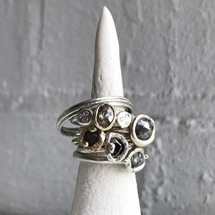 Just some of the current orders I'm working on at the moment hanging out on porcelain ring totem.  Rough diamond rose cut diamond and diamond slice rings in white gold yellow gold and sterling silver. . . . #lovemyjob #girlboss #thisgirlcan #tamaragomezjewellery #rawluxury #spiritinspired #rawdiamonds #stackoftheday #rawdiamondring #roughdiamonds #naturalstyle #finejewelry #cockpitarts #diamondsareagirlsbestfriend #porcelain #diamondsareforever #rusticluxury #preciousmetal