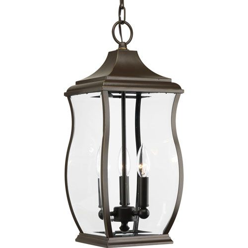 P5504 108 township oil rubbed bronze three light outdoor pendant progress lighting outdoor