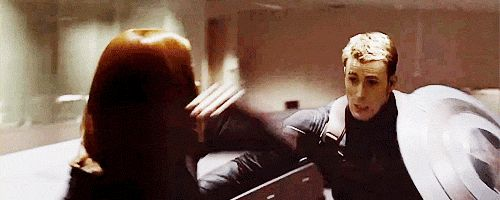 winter soldier / black widow gif   Black Widow and Captain America begin to question what they want and ...