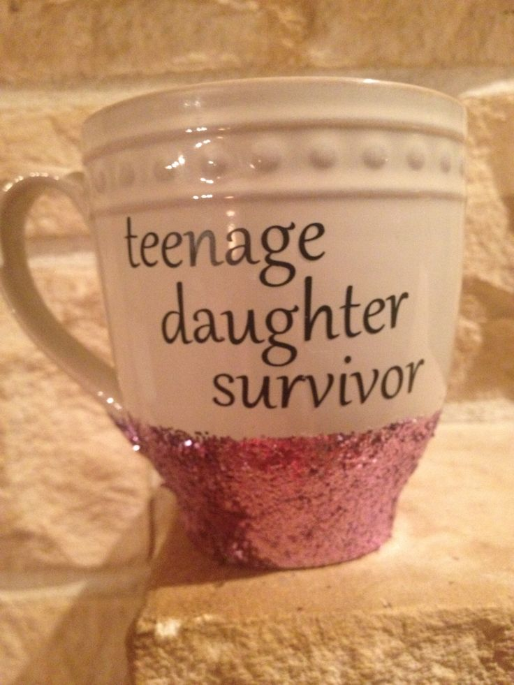 Teenage Daughter Survivor, Popular Coffee Mug, Funny Coffee Mug, Gifts for Mom, Mothers Day Gift, Mugs for Mom, Glittery Coffee Mug, by SarahOlsenDesigns on Etsy https://www.etsy.com/listing/265456166/teenage-daughter-survivor-popular-coffee