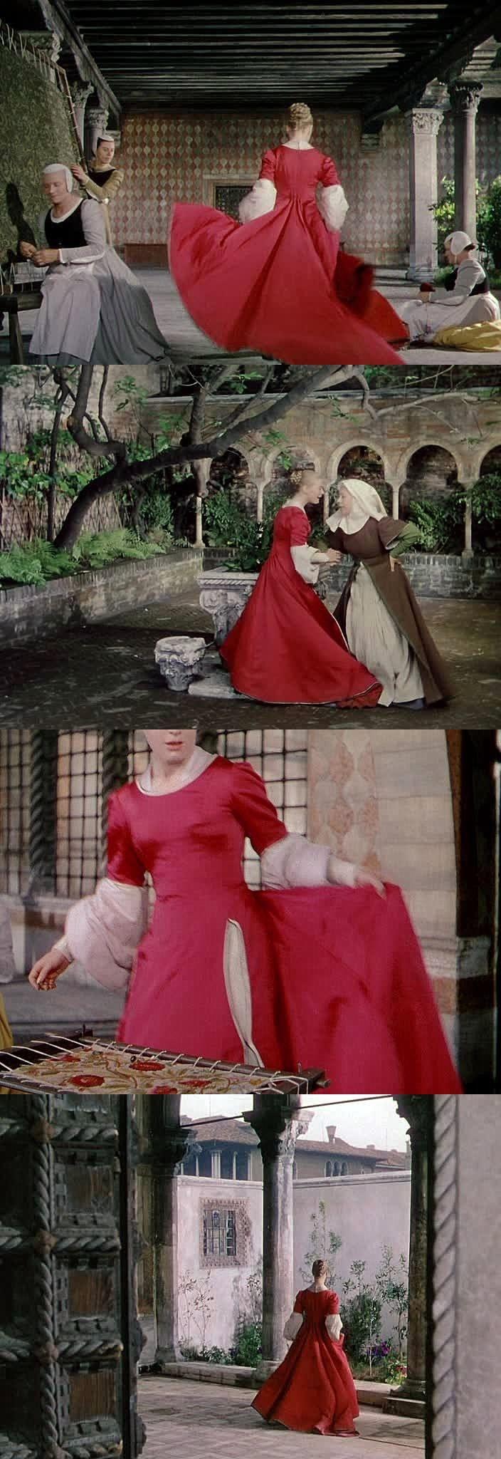 """""""Ромео и Джульетта"""" (Romeo and Juliet, 1954) Джульетта в красном платье томится в ожидании кормилицы с посланием от Ромео.  Визуально совершенный фильм Ренато Кастеллани. Каждый кадр будто ожившее полотно лучшиx образцов живописи итальянского Возрождения."""