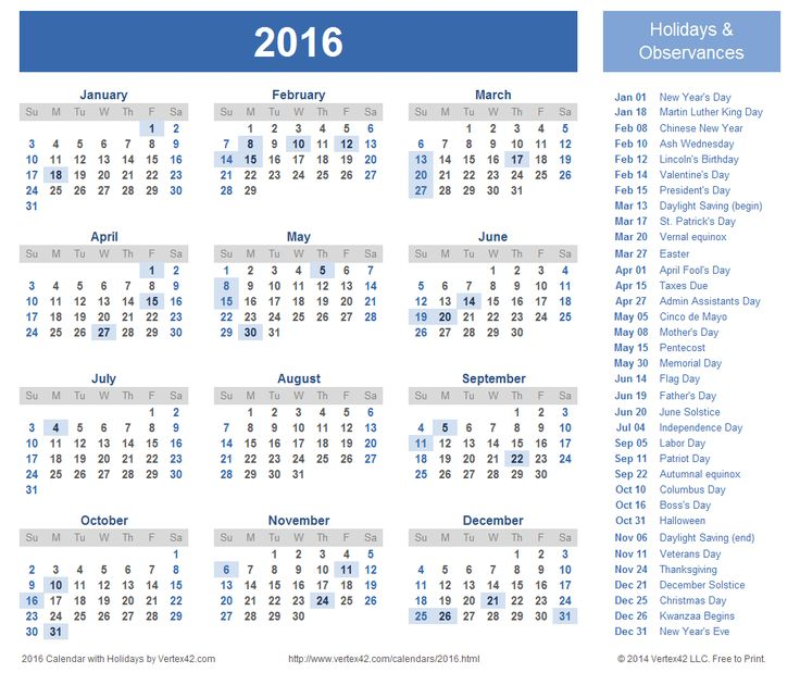 Download a free Printable 2016 Holiday Calendar from Vertex42.com