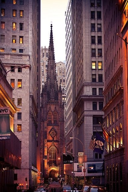 Trinity Church in the financial district....Wall  Street.  My mother owned a women's shop across the street from the church....a thousand years ago. New York City