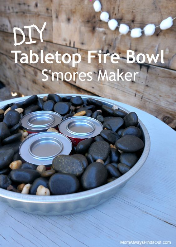 How to make a tabletop fire bowl on the cheap. Works great for making s'mores! DIY idea.