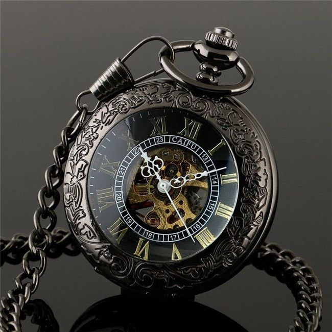 watches mechanical jewel open plated pocket watch rapport face black ion image
