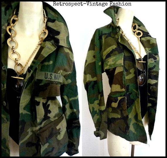 GRUNGE Vintage Camouflage army green fatigue JACKET // by ...