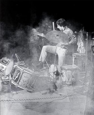 Drummer Keith moon from the who destroys drum kit