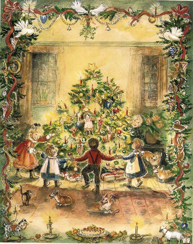 Vintage Christmas Card, Dance around the tree -- Tasha Tudor