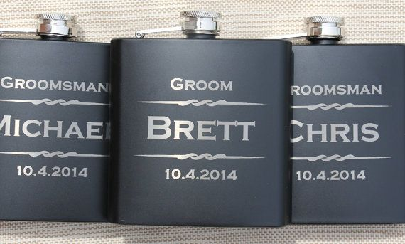 Engraved Flask- Personalized Black Flasks, Groomsmen gift, Wedding Favor, Best Man, Usher, Father of the Groom, Bride