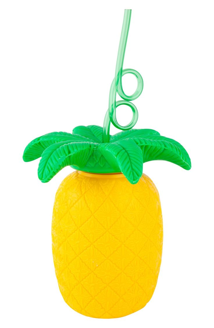 Sippin' summer drinks in style with this adorable cup and straw in the shape of a pineapple. Too cute!