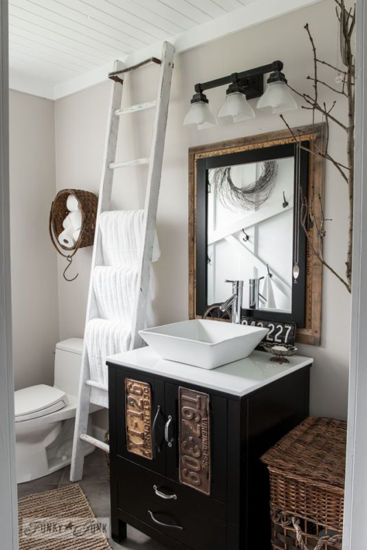 Turn a modern bathroom into one filled with farmhouse charm! Written by Funky Junk Interiors for #ebay