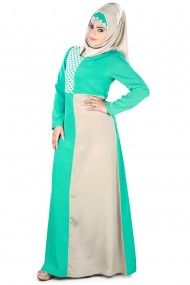 Crepe Plain Party Wear Abayas in Green Colour