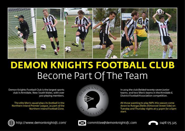 Demon Knights Football Club recruitment flyer