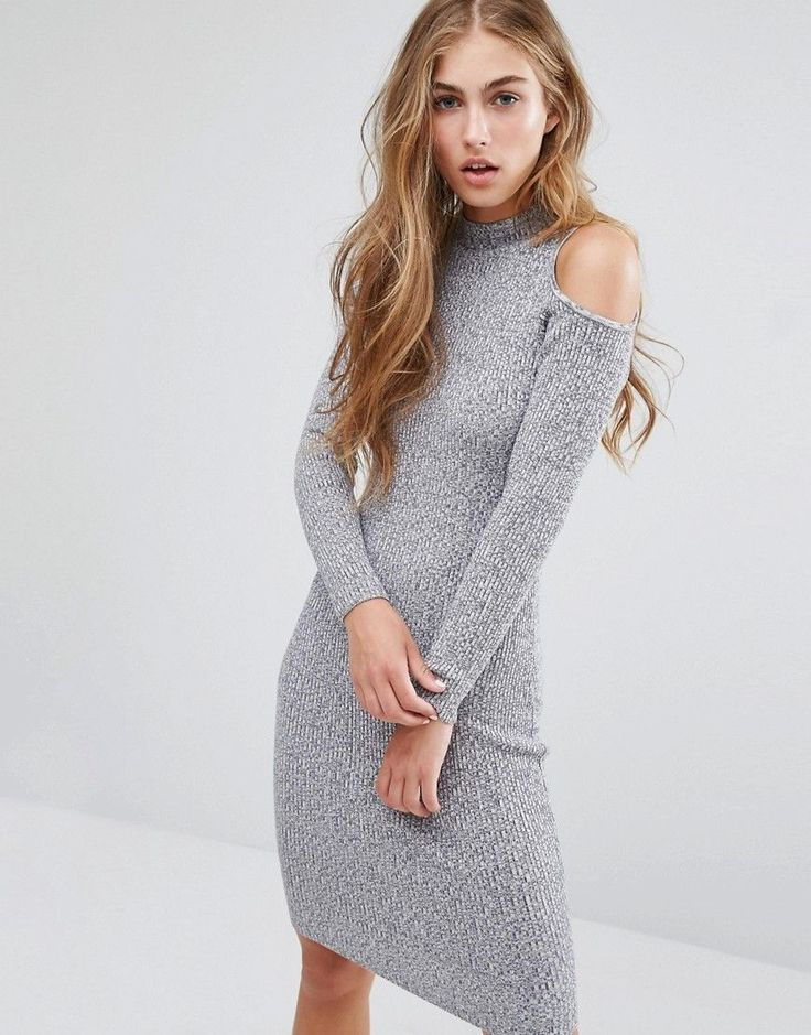 Image 1 of Miss Selfridge Cold Shoulder Rib Bodycon Dress