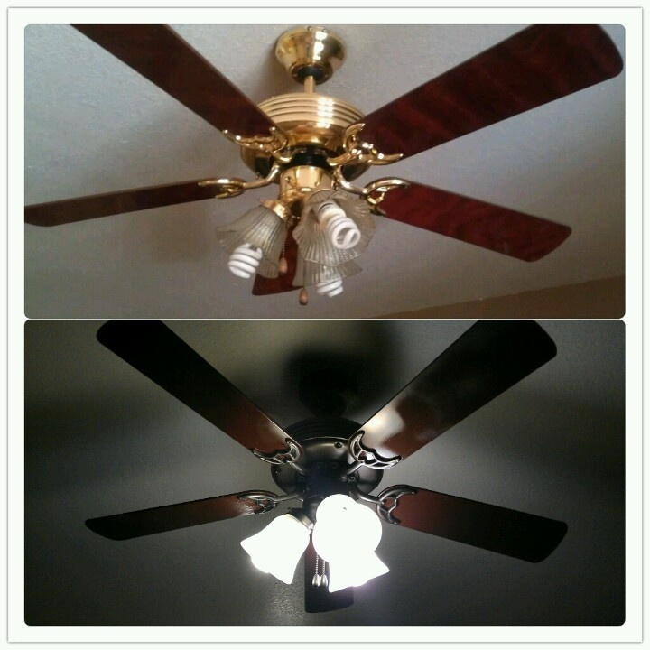 gold 70 39 s ceiling fan 8 can of rustoleum oiled bronze spray paint. Black Bedroom Furniture Sets. Home Design Ideas