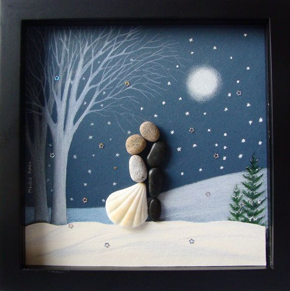 Pebble Art Christmas Gift  Unique Couple's Christmas by MedhaRode
