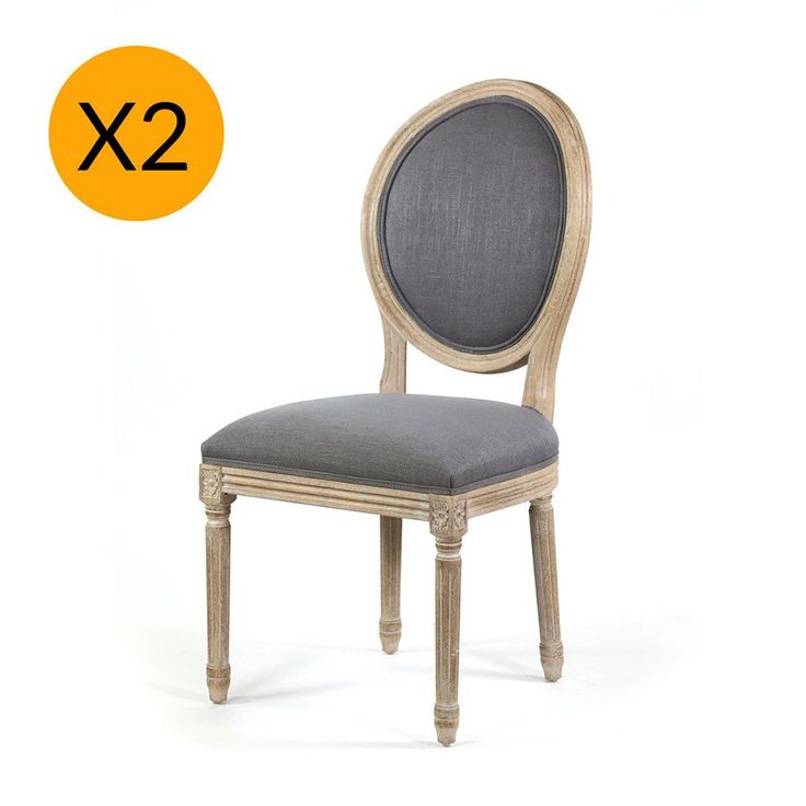 X2 French Provincial Round Side Dining Chair Wolf Grey - Black Mango