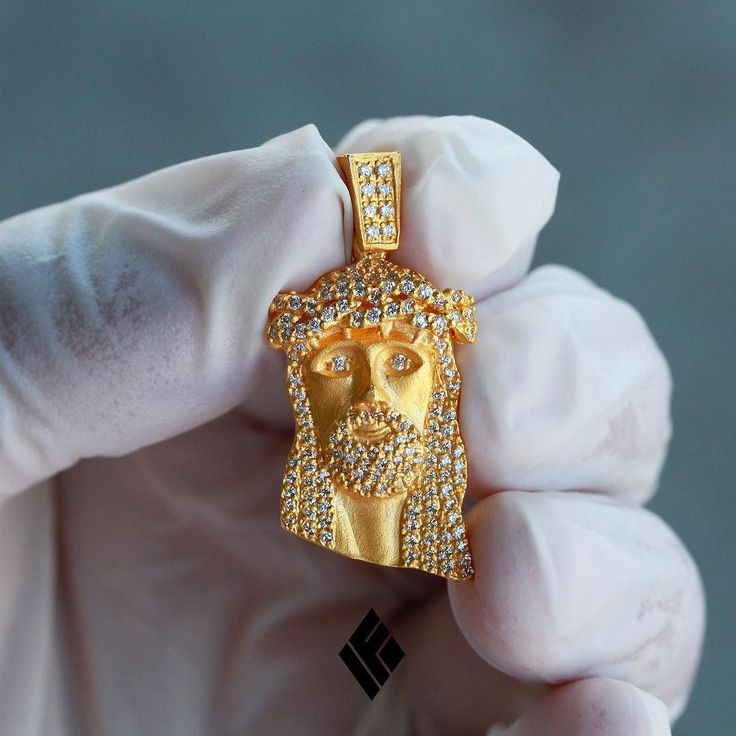 24kt Solid Micro Jesus Piece fully iced out in VS quality diamonds available now on www.IFANDCO.com.  #MicroJesus #CustomJewelry #IFANDCO