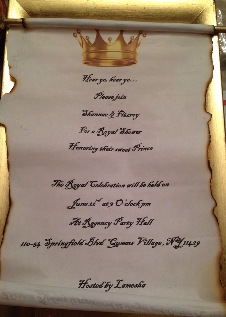 Royal baby shower scroll gold and blue invitations Baby