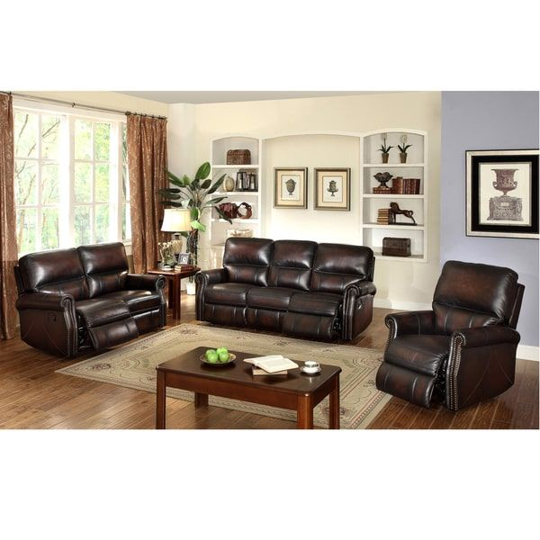 Cheap Sectional Sofas Crestview Dark Brown Top Grain Leather Lay Flat Reclining Sofa Loveseat and Recliner