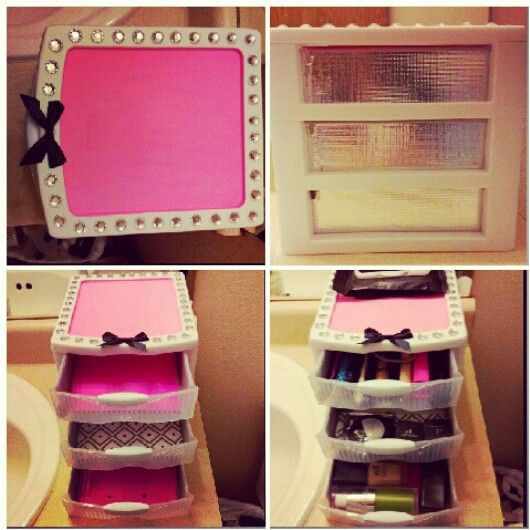 Cheap sterillite organization drawers, spruced up for makeup storage! #diy