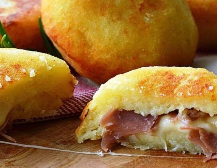 Μπόμπες πατάτας γεμισμένες με τυρί και ζαμπόν