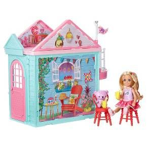 Your fun gal will love joining the cute and colorful club with the Barbie Club Chelsea Doll and Playhouse set. This Barbie playhouse features two stories and abundant play space to make the house the perfect setting for young imaginations to come alive and explore. Open the pink door to welcome friends to a kitchen that comes with appliances that open, a second floor with a curved outdoor slide, and a working elevator that has a platform for the Chelsea doll and a basket for her cute teddy…