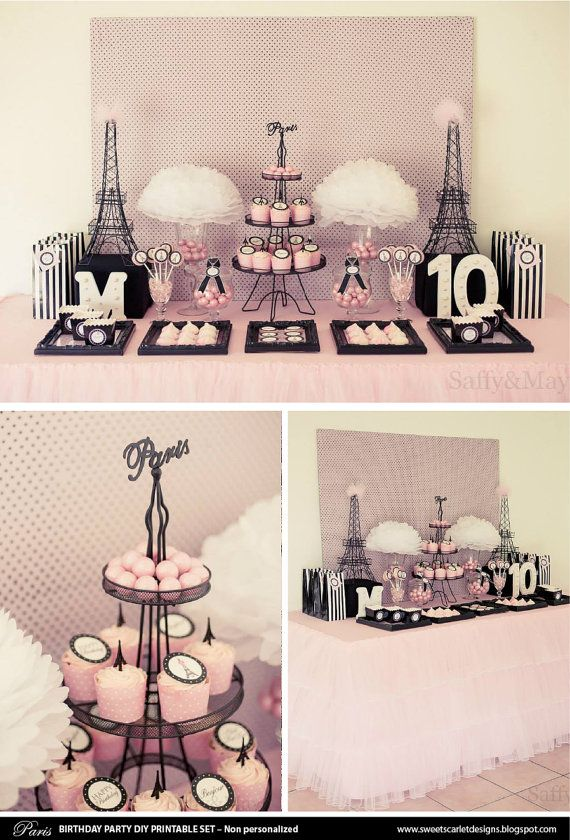 PARIS Party Printable Set  Einladung von SweetScarletDesigns