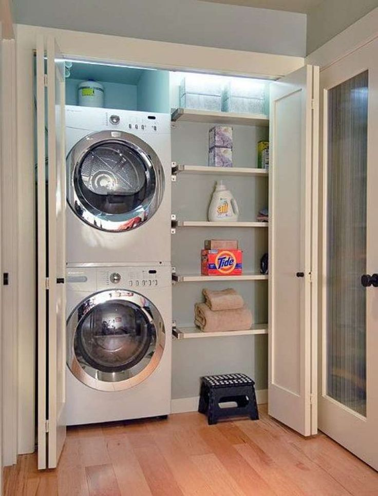 15. Stack The Washer And Dryer And Use The Extra Space For Shelving!
