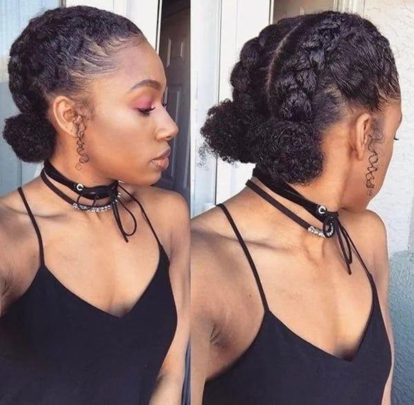 Twin Dutch Braid Buns Short Natural Hair Styles Curly Hair Styles Naturally Natural Hair Styles