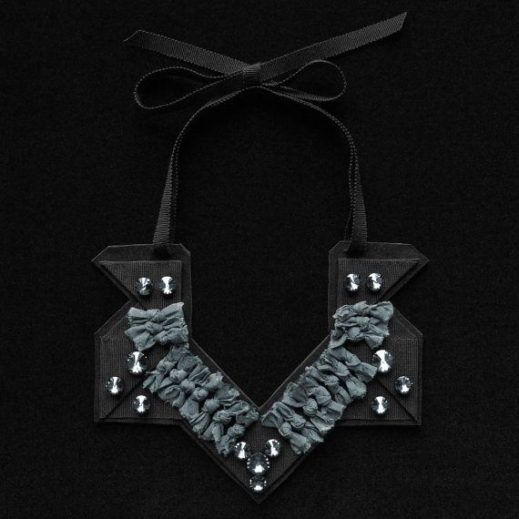 Geometric Necklace with Silk Knots and Swarovski by LilaMorency