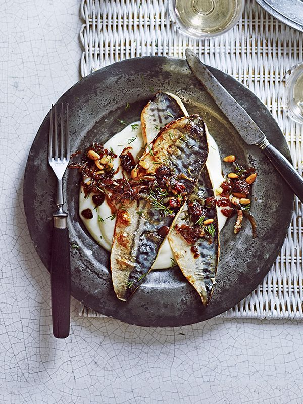 Grilled Sicilian mackerel with cauliflower purée