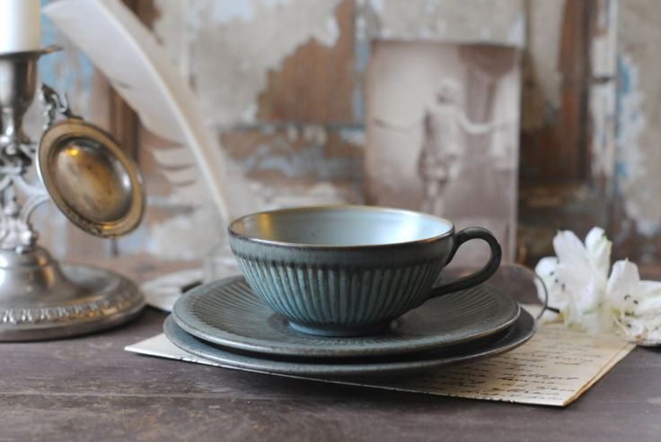 Løvemose Denmark - tea trio - Graasten. Tea set from Lovemose. Danish modern design. Mid Century Pottery by FridasVintage on Etsy