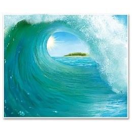 Muurposter Surf Wave groot -  Een gigantische poster bedrukt met een grote surf golf. Afmeting: 150 x 180cm. Met deze prachtige poster bent u onmiddellijk in de juiste sfeer. Perfect voor troipsche themafeesten!   www.feestartikelen.nl