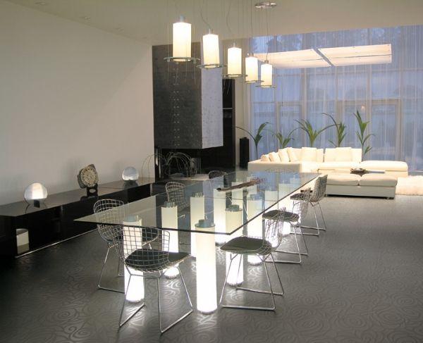 minimalistische einrichtung wohnbereich led esstisch bodenfliesen tango