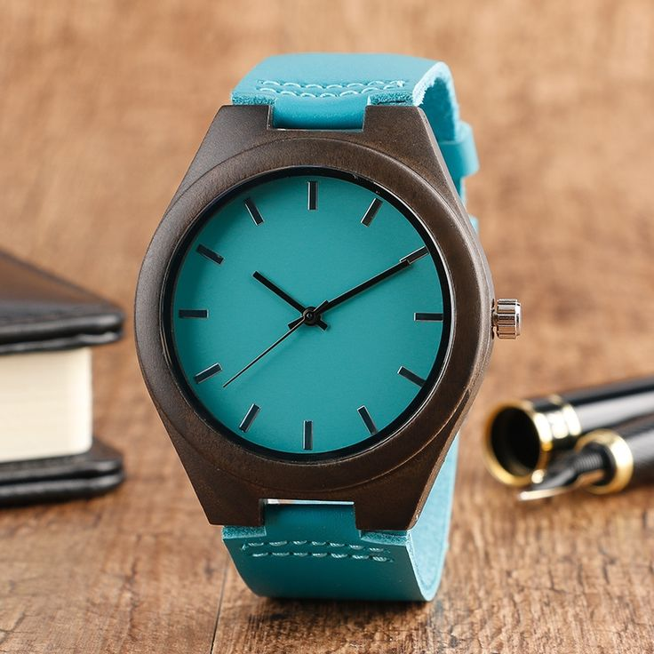 13.95$  Watch now - http://alii7d.shopchina.info/go.php?t=32793029738 - High Quality Bamboo Wood Watch For Men And Women Quartz Analog Casual Wristwatch Modern Handmade Blue Bamboo Leather Band 13.95$ #buyonlinewebsite